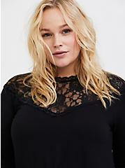 Super Soft Black Lace High Neck Long Sleeve Tee, DEEP BLACK, alternate