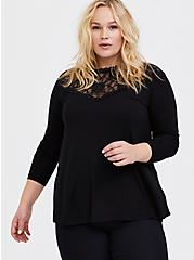Super Soft Black Lace High Neck Long Sleeve Tee, DEEP BLACK, hi-res