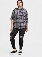 Taylor - Grey Plaid Twill Button Front Slim Fit Shirt, PLAID - GREY, alternate
