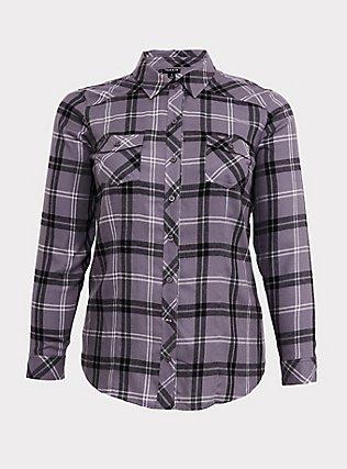 Taylor - Grey Plaid Twill Button Front Slim Fit Shirt, PLAID - GREY, flat