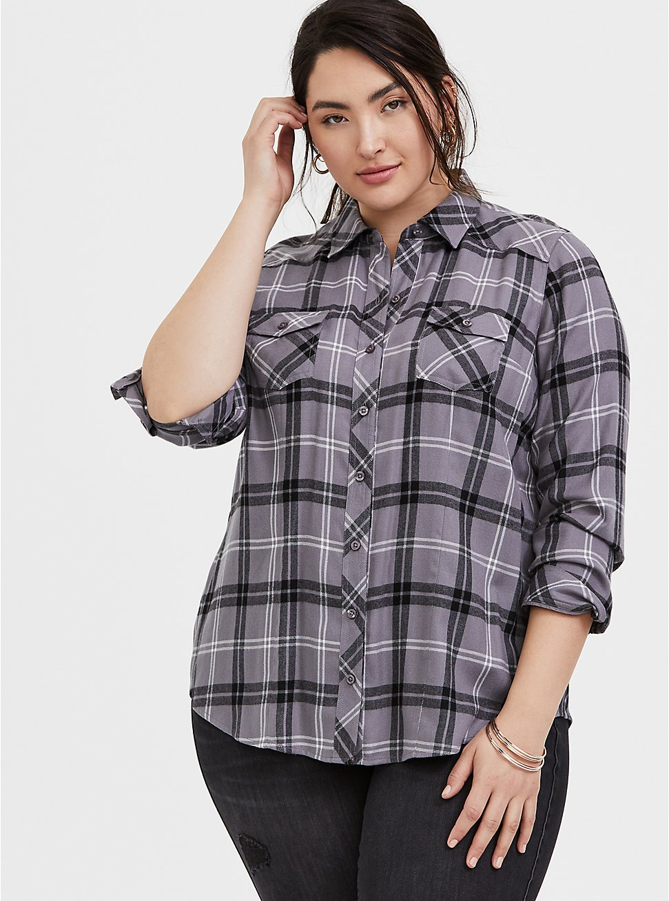 Taylor - Grey Plaid Twill Button Front Slim Fit Shirt, PLAID - GREY, hi-res