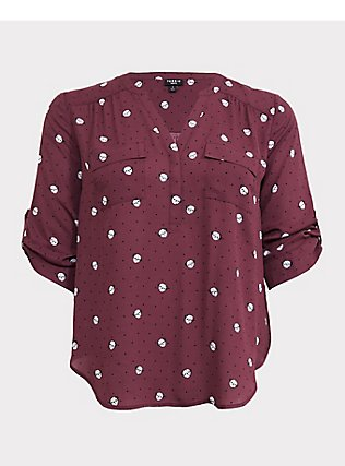 Harper - Mauve Purple Pug & Ditzy Dot Georgette Pullover Blouse, MULTI, flat