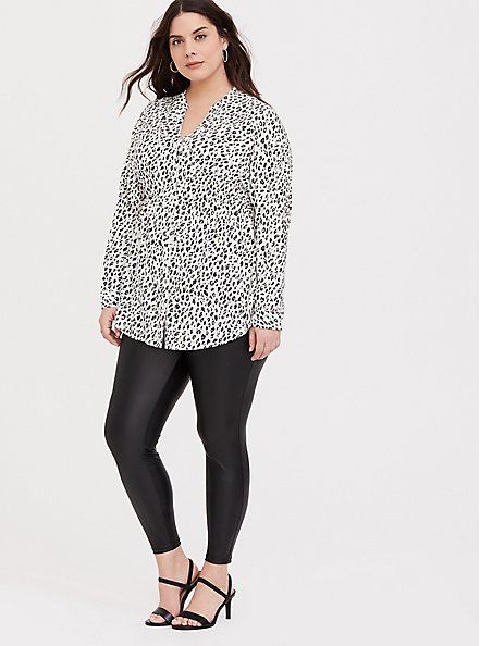 Plus Size Emma - White Leopard Print Challis Babydoll Tunic, MULTI, alternate