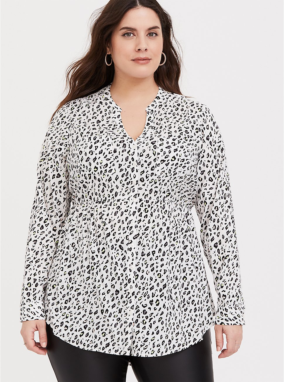 Plus Size Emma - White Leopard Print Challis Babydoll Tunic, MULTI, hi-res