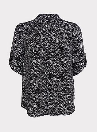 Madison - Black Geo Georgette Button Front Blouse, MULTI, flat