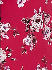 Red Floral Georgette Tie Front Peplum Blouse, MULTI, alternate