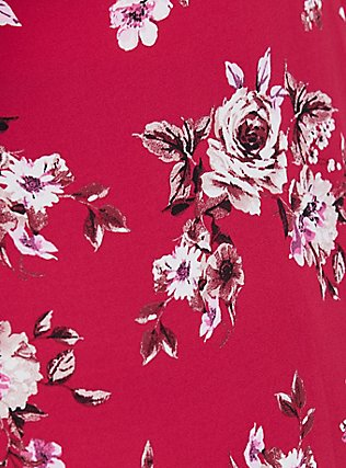 Plus Size Red Floral Georgette Tie-Front Peplum Blouse, MULTI, alternate
