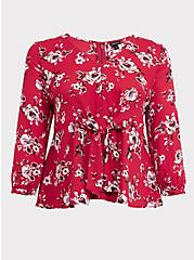 Red Floral Georgette Tie Front Peplum Blouse, MULTI, hi-res