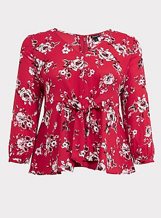 Plus Size Red Floral Georgette Tie-Front Peplum Blouse, MULTI, flat