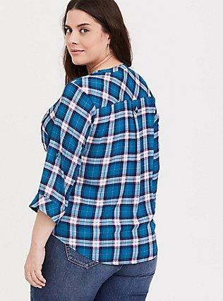 Harper - Blue Plaid Georgette Pullover Blouse, MULTI, alternate