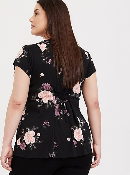 Plus Size Black Floral Button Front & Corset Back Blouse, MULTI, alternate