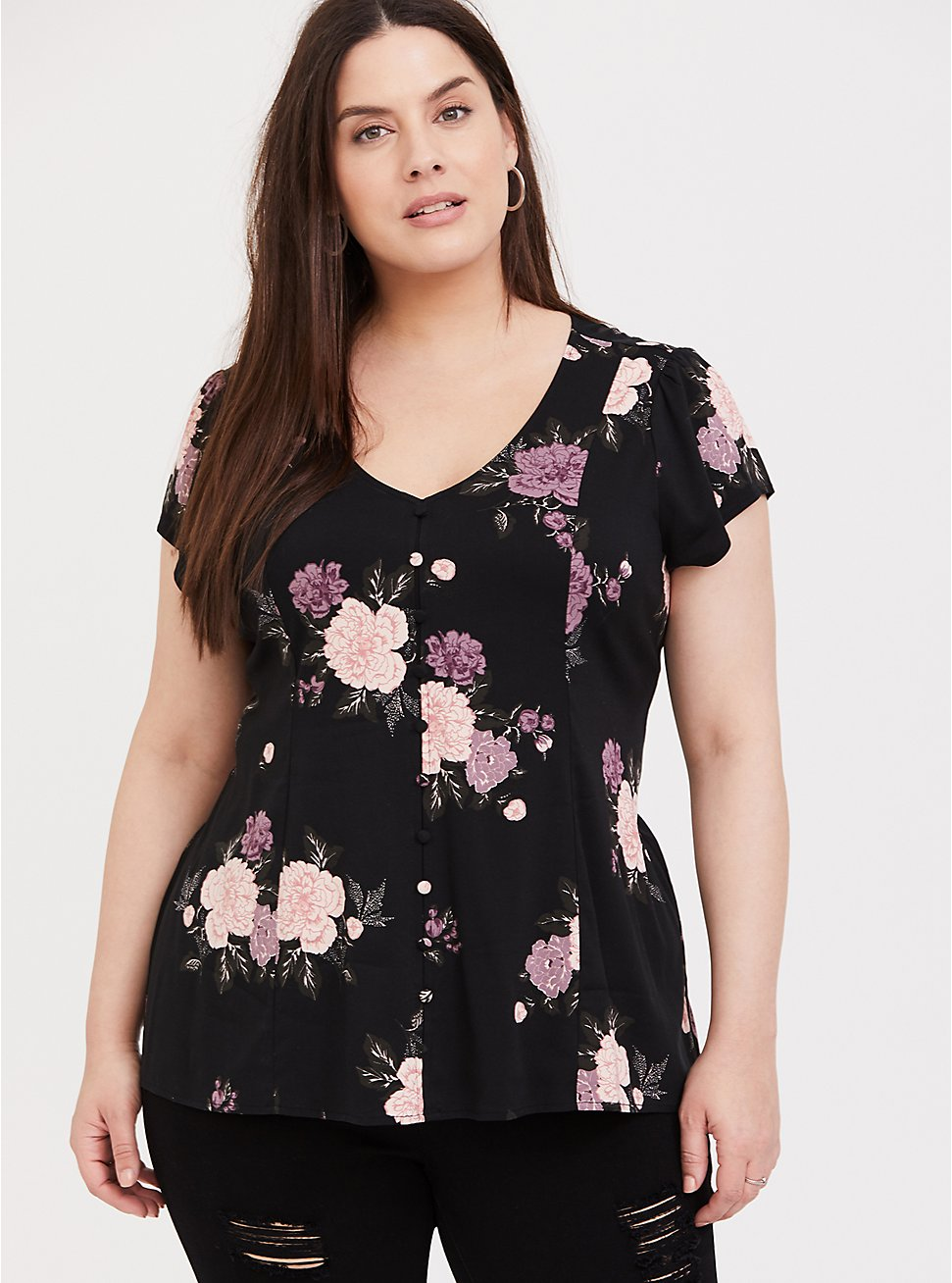 Plus Size Black Floral Button Front & Corset Back Blouse, MULTI, hi-res