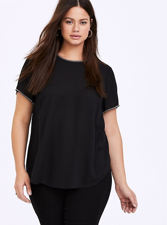 Plus Size Abbey - Black Georgette Embellished Trim Blouse, DEEP BLACK, hi-res
