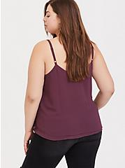 Sophie - Purple Wine Embroidered Double Layer Swing Cami, EGGPLANT, alternate