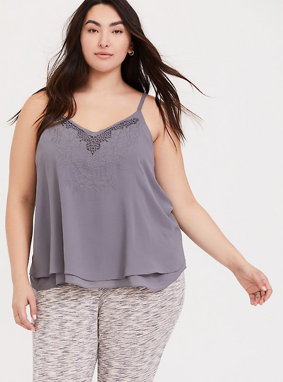 Sophie - Slate Grey Embroidered Double Layer Swing Cami, DARK PEARL GREY, hi-res