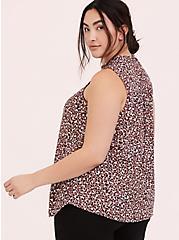 Plus Size Walnut Leopard Georgette Mock Neck Sleeveless Blouse, MULTI, alternate