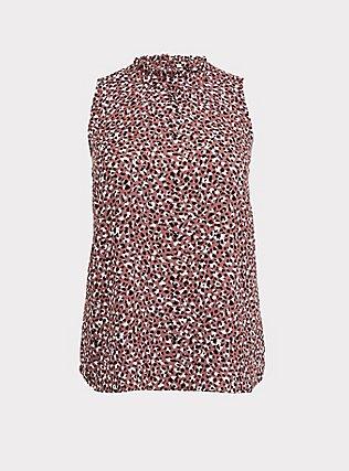 Plus Size Walnut Leopard Georgette Mock Neck Sleeveless Blouse, MULTI, flat