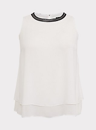 White Chiffon Embellished Double Layer Tank, CLOUD DANCER, flat