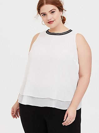 White Chiffon Embellished Double Layer Tank, CLOUD DANCER, hi-res