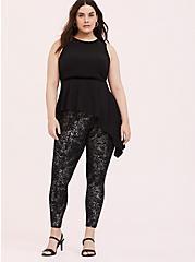 Plus Size Black Crepe & Velvet Trim Asymmetrical Peplum Top, DEEP BLACK, alternate