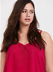 Sophie - Red Embroidered Double Layer Swing Cami, MAGENTA RED, alternate