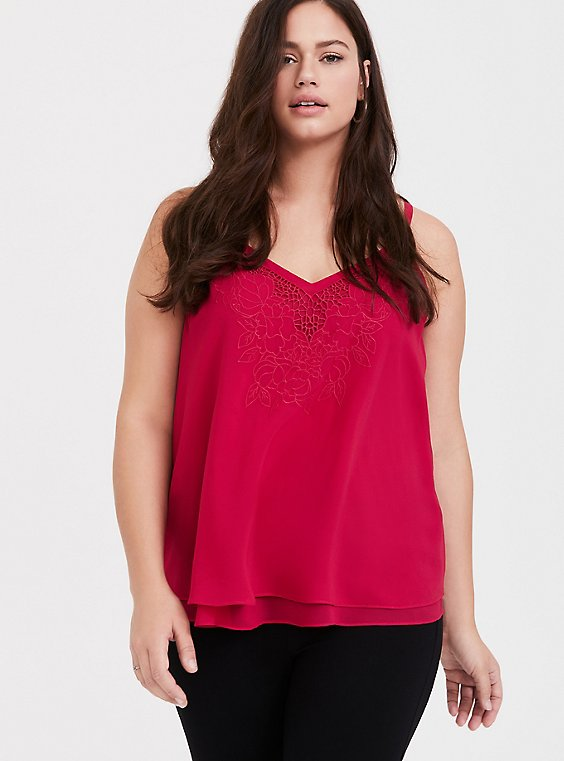 Sophie - Red Embroidered Double Layer Swing Cami, , hi-res