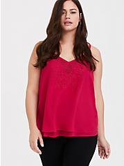 Sophie - Red Embroidered Double Layer Swing Cami, MAGENTA RED, hi-res