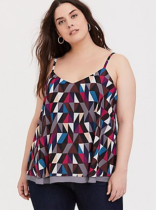 Sophie - Geo Chiffon Double Layer Swing Cami, MULTI, hi-res