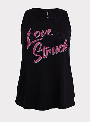 Love Struck Black Slub Sleep Tank, DEEP BLACK, flat
