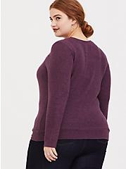 Super Soft Plush Purple Wine Twist Hem Long Sleeve Midi Top, EGGPLANT, alternate