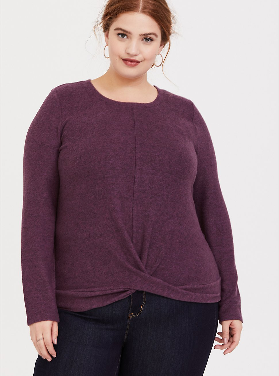 Super Soft Plush Purple Wine Twist Hem Long Sleeve Midi Top, EGGPLANT, hi-res