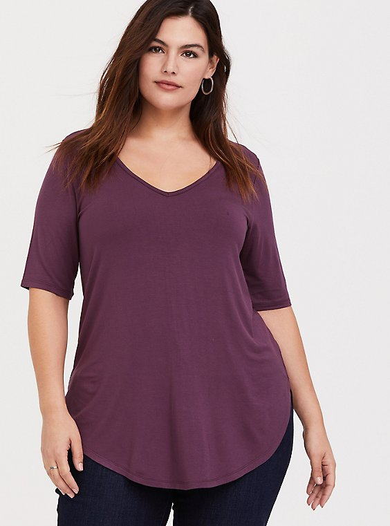Super Soft Purple Wine Favorite Tunic Tee, EGGPLANT, hi-res