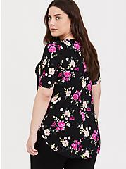 Super Soft Black & Hot Pink Floral Favorite Tunic Tee, FLORALS-PINK, alternate