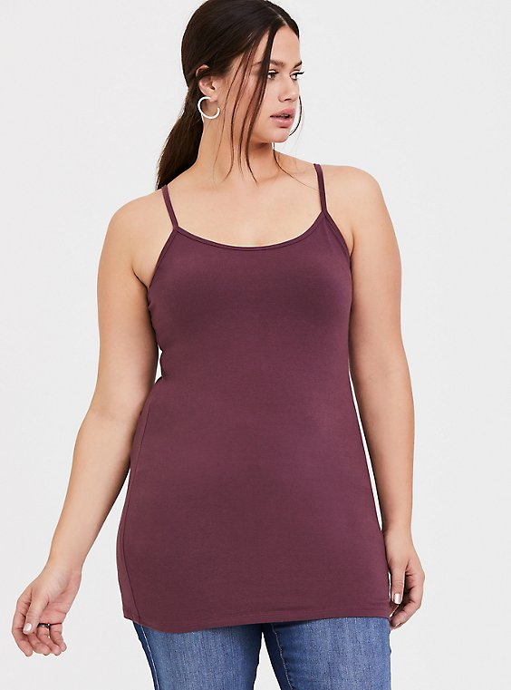 Purple Wine Scoop Neck Tunic Foxy Cami, , hi-res
