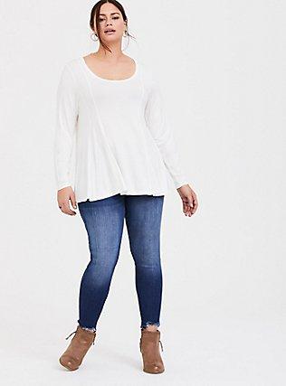 Plus Size Super Soft White Fit & Flare Long Sleeve Tee, CLOUD DANCER, alternate