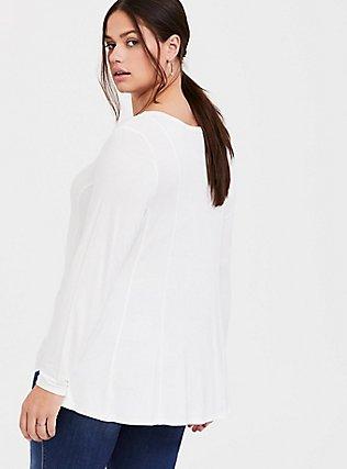 Super Soft White Fit & Flare Long Sleeve Tee, CLOUD DANCER, alternate
