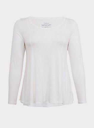 Plus Size Super Soft White Fit & Flare Long Sleeve Tee, CLOUD DANCER, flat