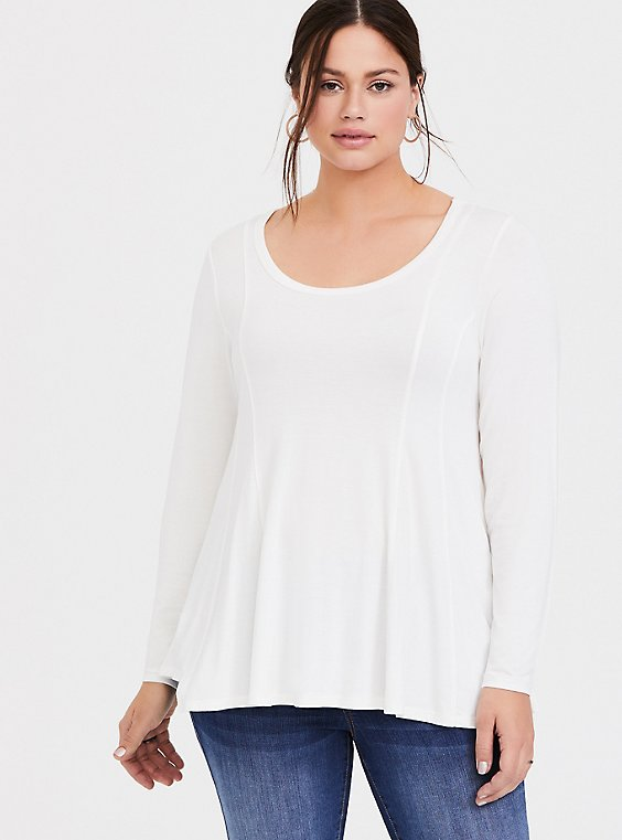 Plus Size Super Soft White Fit & Flare Long Sleeve Tee, , hi-res
