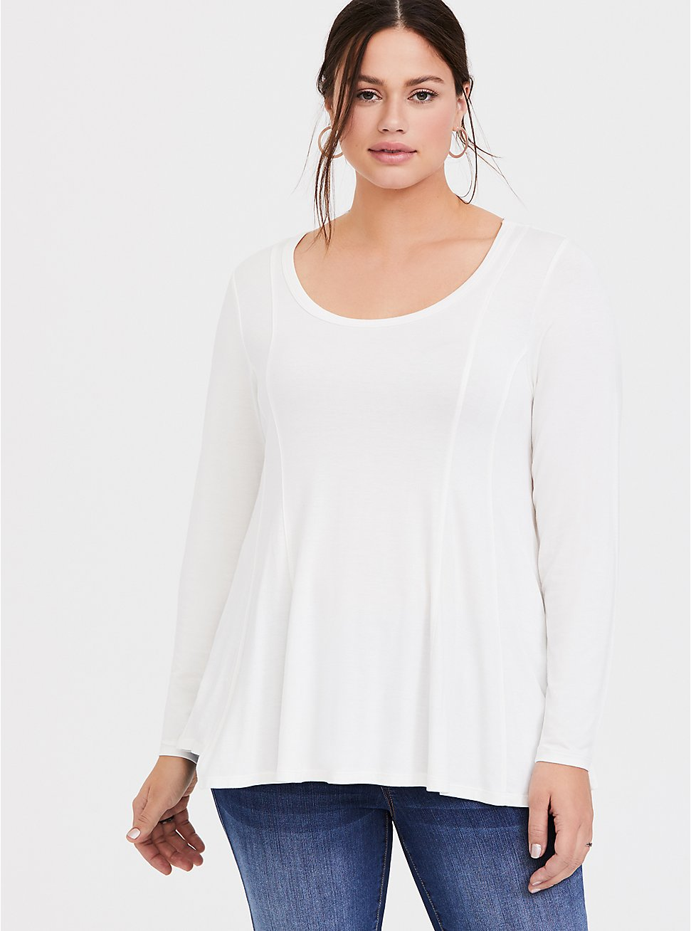 Super Soft White Fit & Flare Long Sleeve Tee, CLOUD DANCER, hi-res