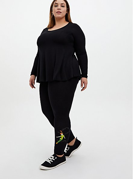 Super Soft Black Fit & Flare Long Sleeve Tee, DEEP BLACK, alternate