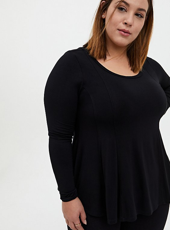 Super Soft Black Fit & Flare Long Sleeve Tee, DEEP BLACK, hi-res