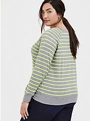Grey & Neon Yellow Stripe Fleece Raglan Sweatshirt, MULTI STRIPE, alternate