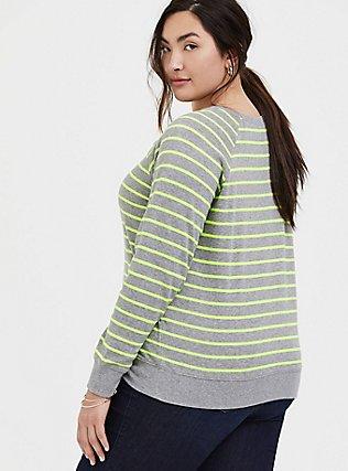 Heathered Grey & Neon Stripe Fleece Raglan Sweatshirt, MULTI STRIPE, alternate