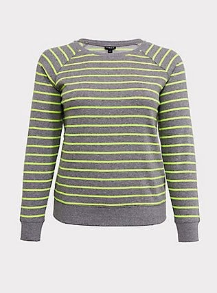 Heathered Grey & Neon Stripe Fleece Raglan Sweatshirt, MULTI STRIPE, flat