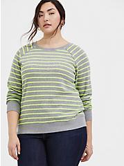 Grey & Neon Yellow Stripe Fleece Raglan Sweatshirt, MULTI STRIPE, hi-res
