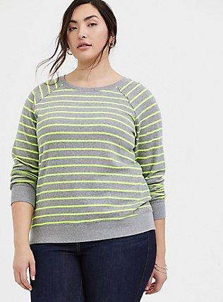 Heathered Grey & Neon Stripe Fleece Raglan Sweatshirt, MULTI STRIPE, hi-res