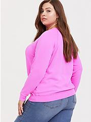 Plus Size Neon Pink Pullover Raglan Sweatshirt, SUPERSONIC, alternate