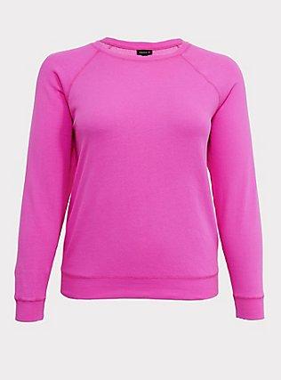 Neon Pink Pullover Raglan Sweatshirt, SUPERSONIC, flat
