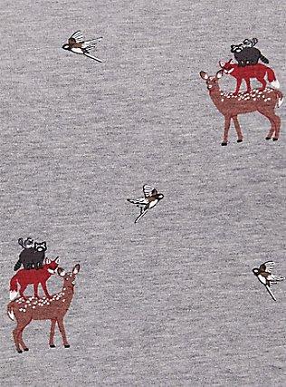 Plus Size Grey Fleece Stacked Animal Raglan Sweatshirt, ANIMAL, alternate