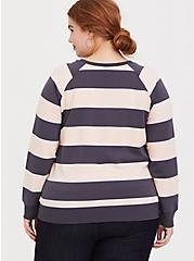 Grey & Pink Stripe Raglan Sweatshirt, MULTI STRIPE, alternate